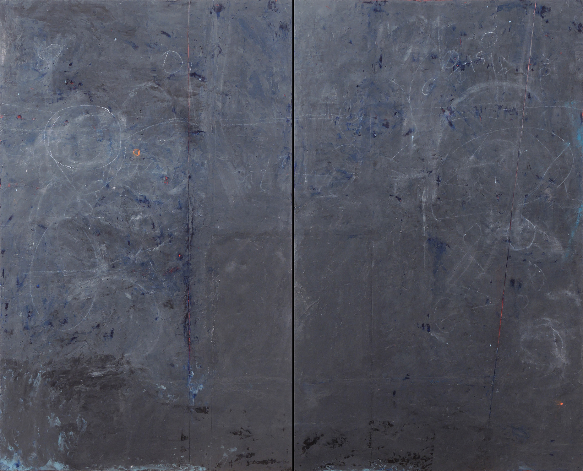 """Dark Matter, 48"""" x 60"""" x 1.5"""", Diptych, encaustic and oil on wood panels, 2013"""