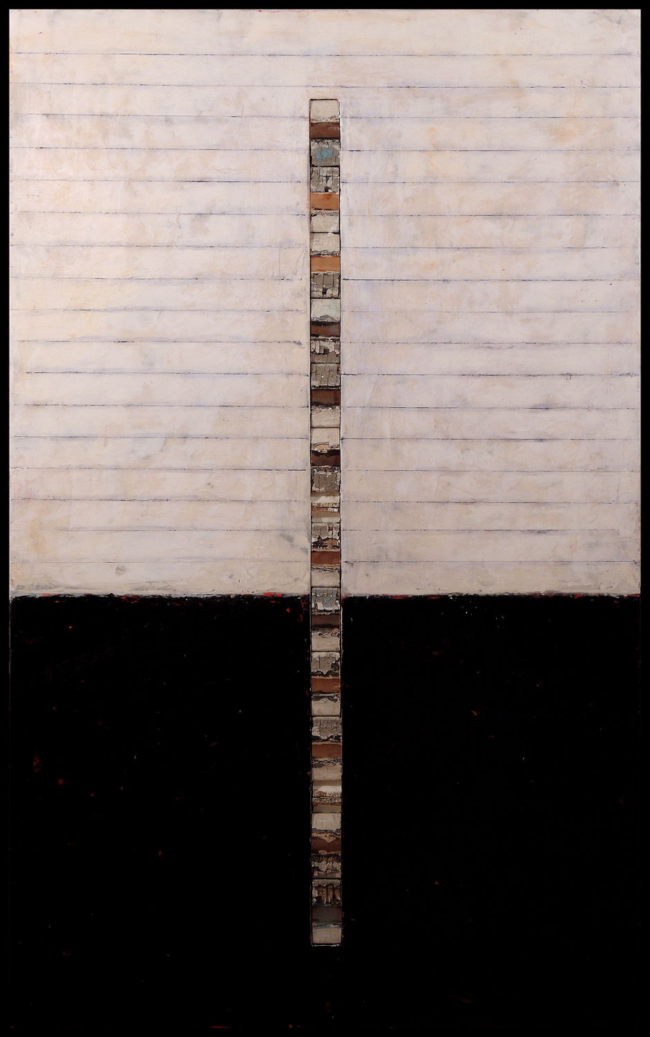 """Litany, 48"""" x 30"""" x 1.5"""", encaustic, oil and objects on wood panel, 2013"""