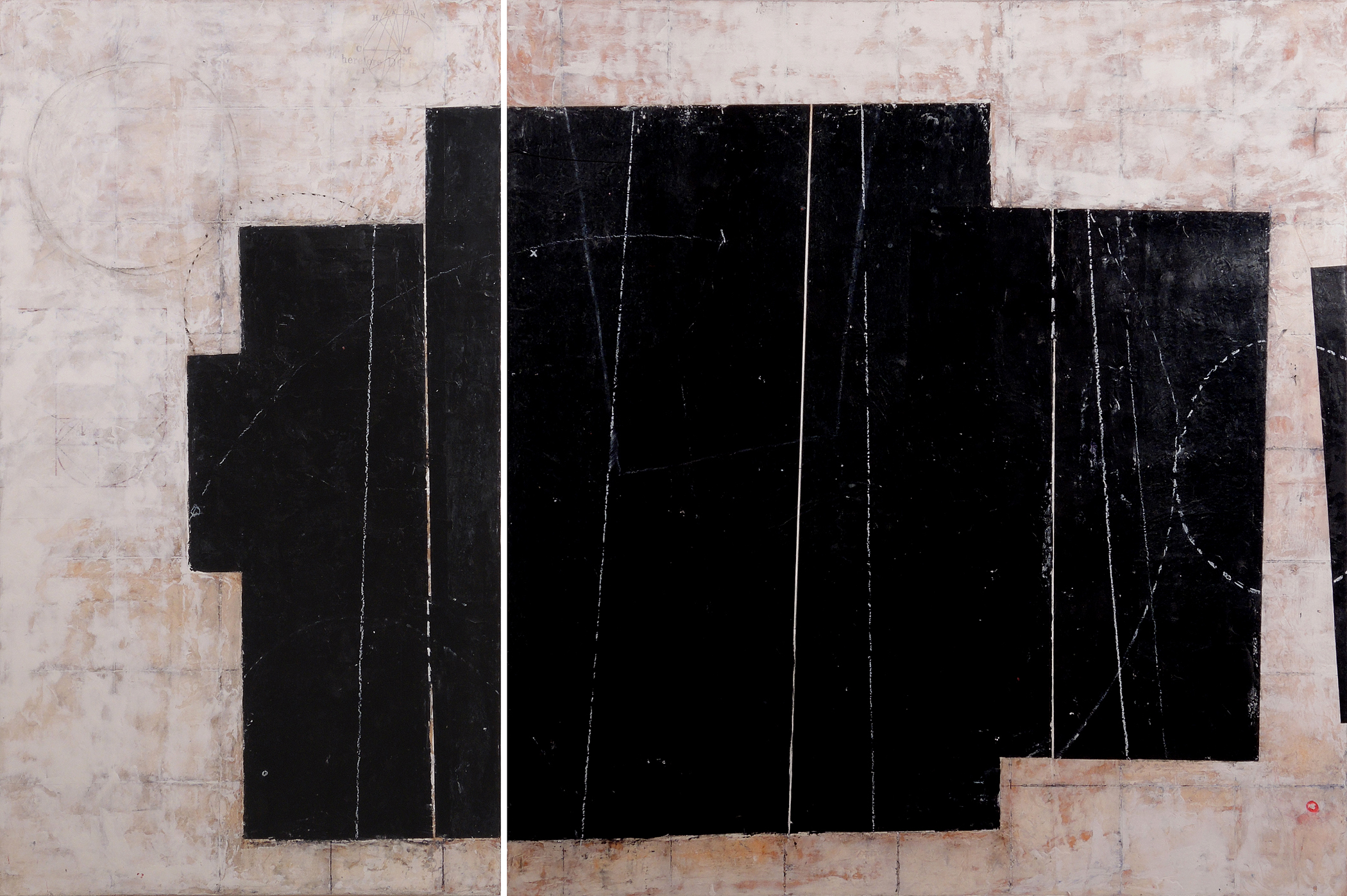 """Moby, 32"""" x 48"""" x 1.5"""", encaustic and oil on wood panel, 2013"""