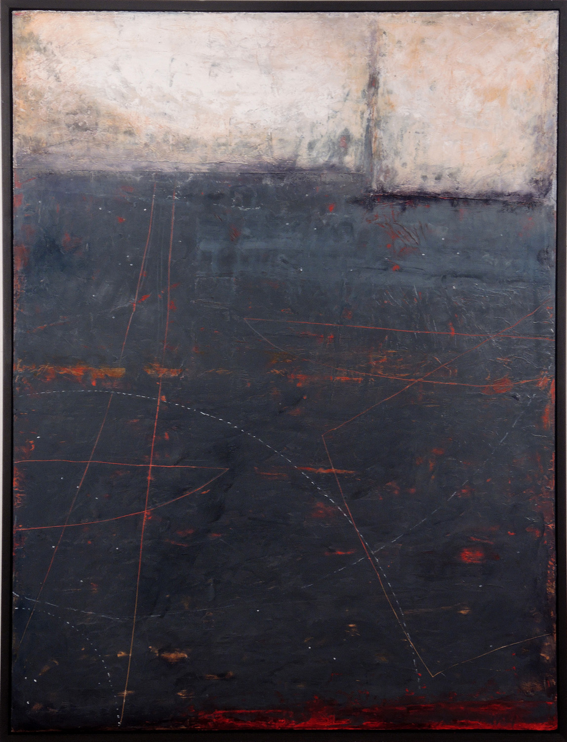 """Navigating at Night, 41"""" x 31"""" x 1.5"""", encaustic and oil on wood panel, 2013"""