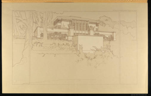 Wasmuth portfolio Plate XV. Perspective view of the Hardy house, Racine, Wisconsin. Source: http://content.lib.utah.edu/cdm/search/collection/FLWright-jp2